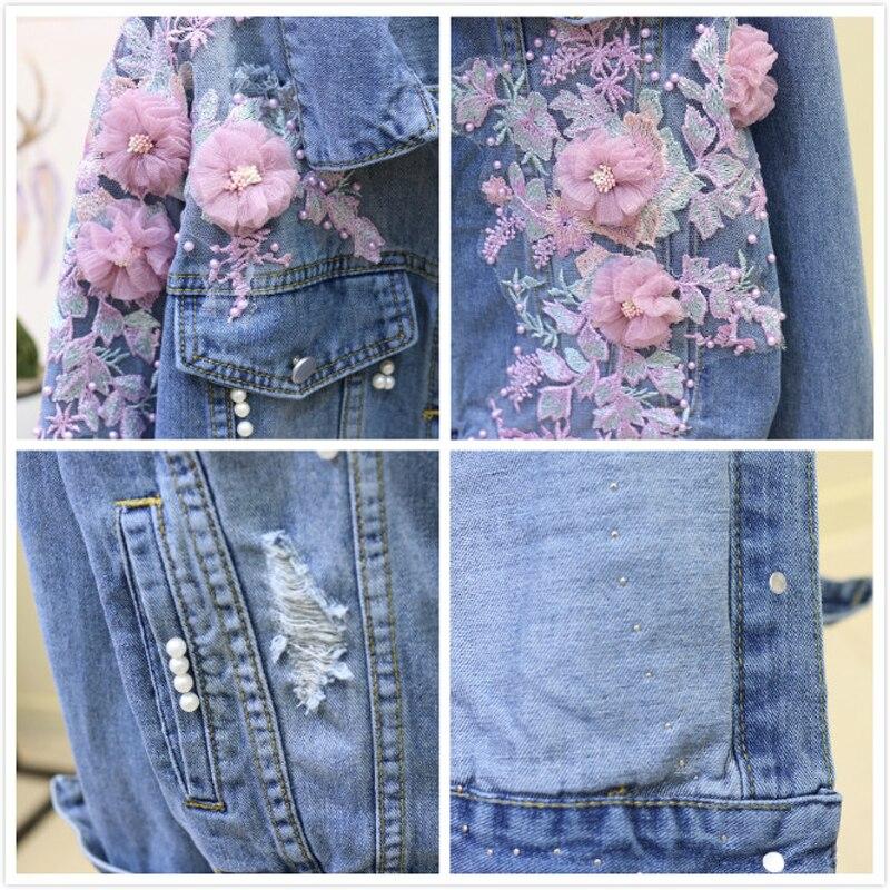New Pink Flower Jean Jacket Coat Women Pearls Embroidery Women 39 s Spring Jackets Casual Long Sleeve Denim Jacket Female Outerwear in Jackets from Women 39 s Clothing