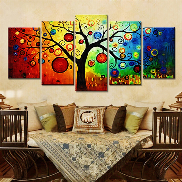 5 pieces abstract tree wall decorative painting canvas art prints wall art canvas pictures for living