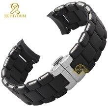 Резиновый ремешок для часов, силиконовый браслет, Серебряная черная пряжка, 20, 23 мм, ремешок для часов AR5921 5922 5858 5868 5859 5867