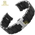 Pulseira de borracha de silicone pulseira pulseira de Prata preto fivela 20 23mm watch band strap para AR5921 5922 5858 5868 5859 5867