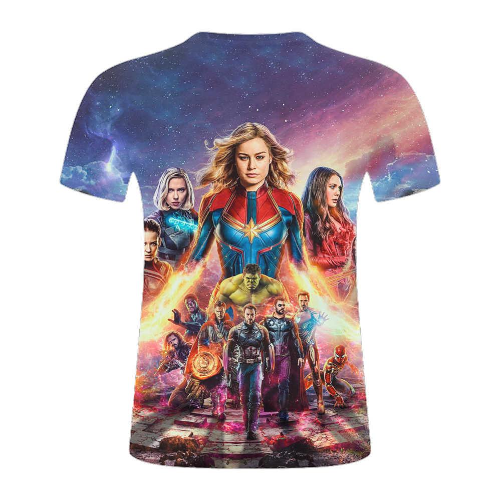 Футболка с героями мультфильма «Мстители Марвел», футболки с 3d принтом, стильная футболка с короткими рукавами, уличная брендовая футболка