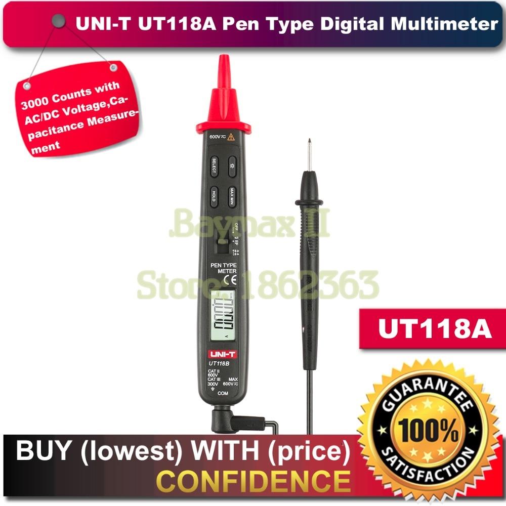 цена Uni-t Ut118A 3000 Counts AC/DC Voltage Capacitance Resistance Pen Type Digital Multimeters Meter Detector