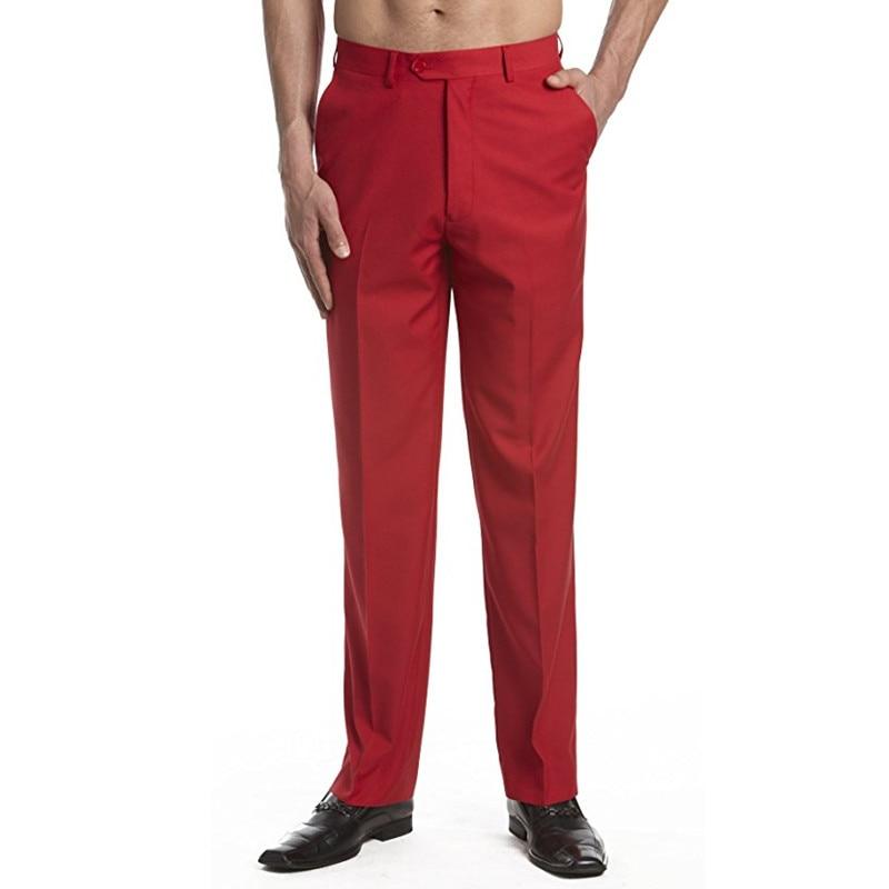 New Arrival Custom Made Men s Dress Pants Trousers Flat Front Slacks Solid RED Color Men