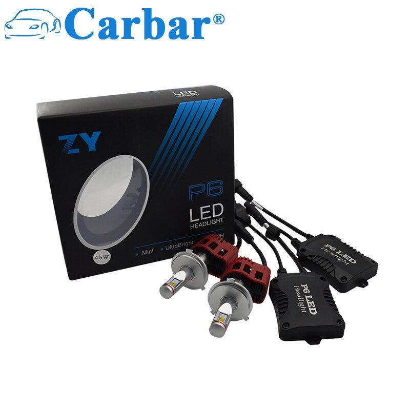 Carbar # P6 H4 4500LM Super Lumineux 45 W H4 HB2 9003 Haut Bas faisceau Conversion Kit 360 Degrés LED Ampoules de Phare 5000 k 4000 k 6000 k