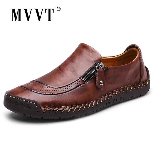 古典的な快適なローファー男性の靴の品質分割レザーシューズ男性フラッツホット販売モカシン靴プラスサイズ