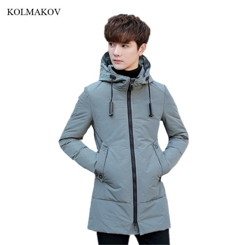 2018 New Arrival Winter Style Men Boutique Leisure   Down     Coats   Fashion Casual White Duck Men's Thick Long   Down   Jacket Size M-3XL