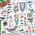 Tatuajes temporales a prueba de agua océano pluma onda montaña flash glitte tatuaje PEGATINAS ARTE corporal para hombres traducidos manga de tatuaje