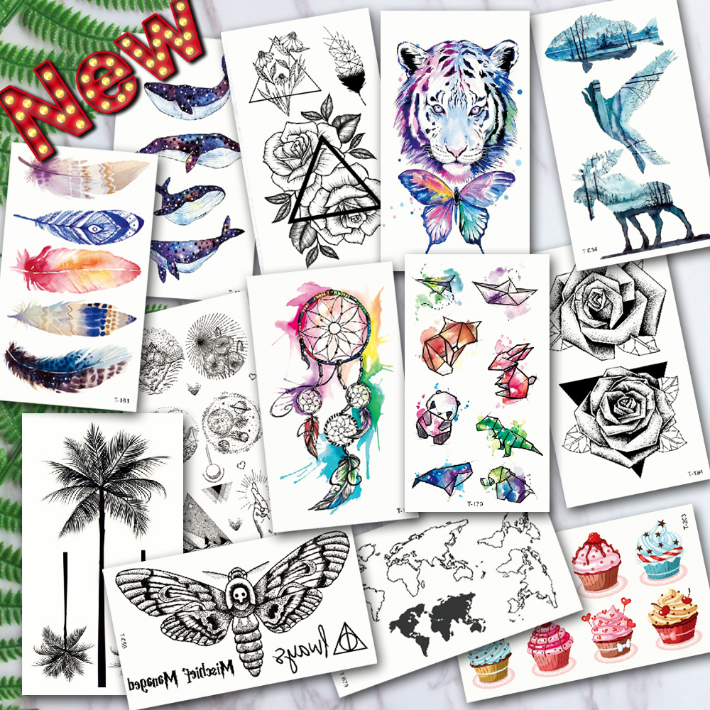 Waterproof Temporary Tattoos ocean feather Wave Mountain flash glitte Tattoo stickers body art for men translated tattoo sleeve