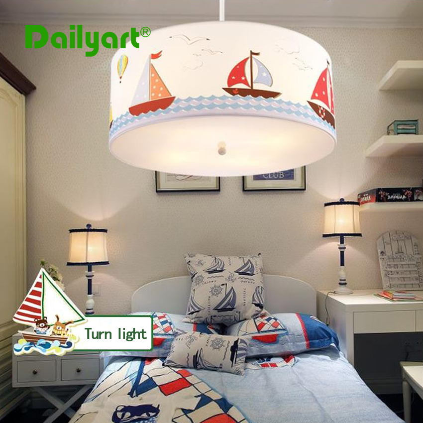 Children Kids Ceiling font b Light b font For Bedroom Reading room Boat Fabric Cartoon Ceiling