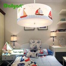 Los niños/Niños lámpara de Techo Para El Dormitorio/sala de Lectura Del Barco de Dibujos Animados de Tela Lámpara de Techo