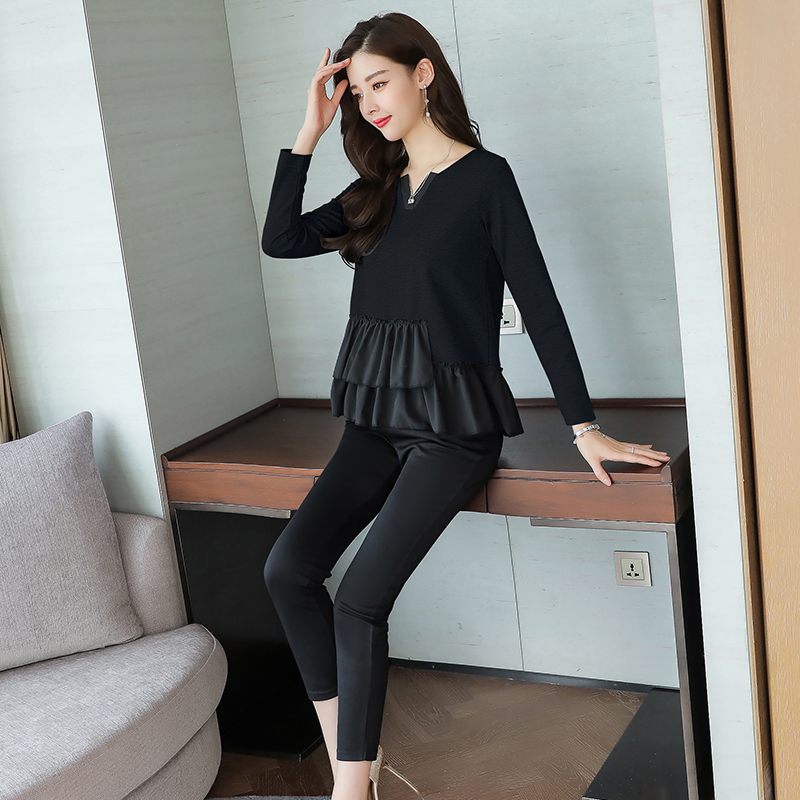 L-5xl Grey Black Casual Two Piece Set Women Long Sleeve V-neck Tops+skinny Pants Women's Sets Elastic Waist Pants Plus Size 2019 29