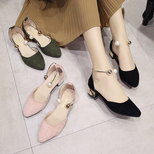 Women Fashion Comfortable Spring & Summer Pink Square Low Heel Shoes Lady Casual Pointed Toe Comfy Black High Heel Shoes E317