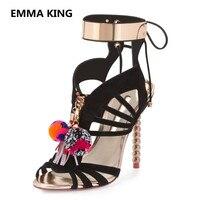 New Design Bead Heel Women Gladiator Sandals Peep Toe Sexy Thin High Heels Ladies Summer PomPom Shoes Woman Lace Up Roman Sandal