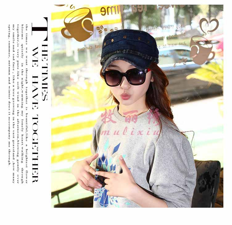 be4b3355f8218 solid chapeu cowboy girls snapback flat top Rivet army service cap western  hat for women gorra raiders denim hats jeans H132-in Cowboy Hats from  Apparel ...