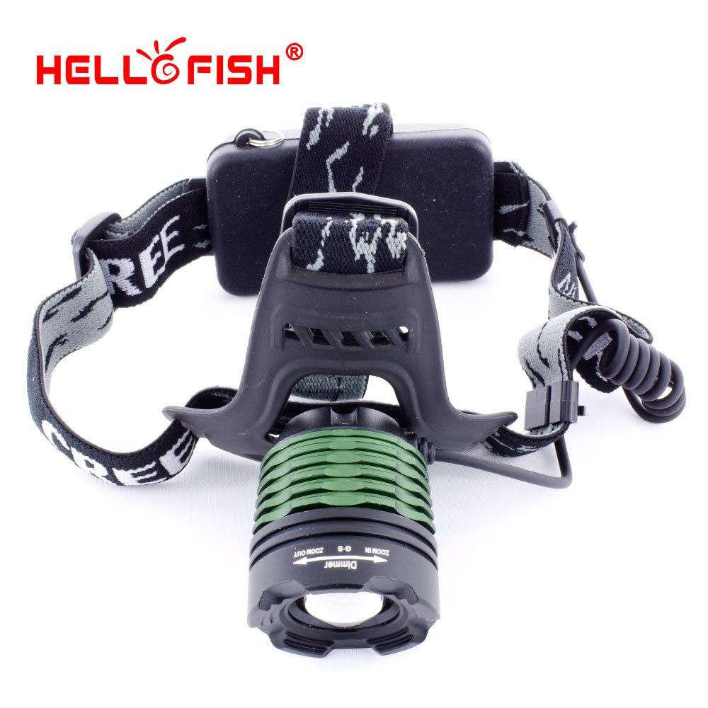 Hello Fish CREE XML T6 1000lm LED Headlamp Headlight 1000 lm zoom torch Flashlight