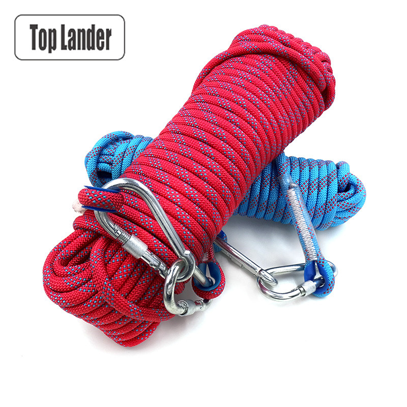 50m Rock Climbing Rope 10mm Tree Wall Climbing Equipment Gear Outdoor Survival Fire Escape Safety Rope Carabiner 10m 20m 30m