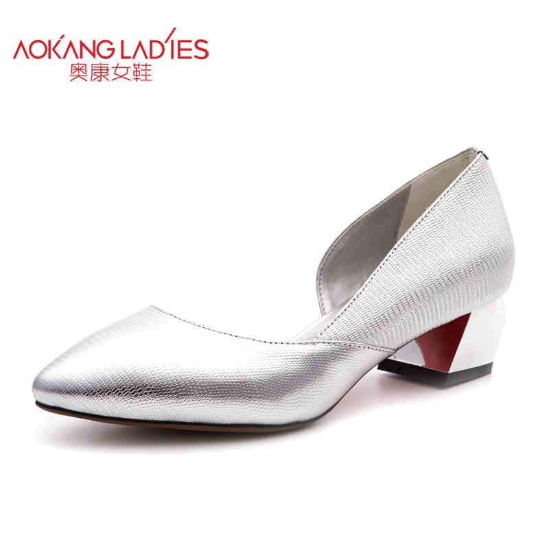Здесь можно купить   AOKANG 2017 Spring New Arrival High Heels Ladies Shoes Full-grain Leather Shoes women shoes Обувь