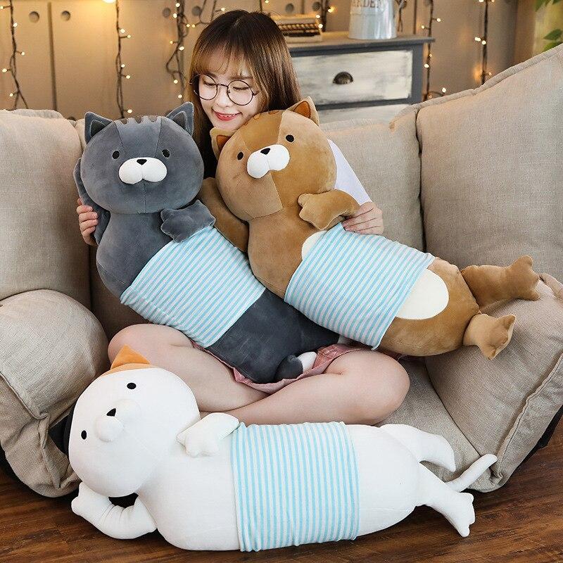 "27.5"" Long Super Soft Chic Cat Stuffed Animal Plush Arrogant Lying Cat Throw Sleeping Pillow Lazy Fat Cat Sofa Cushion Girl Gift"