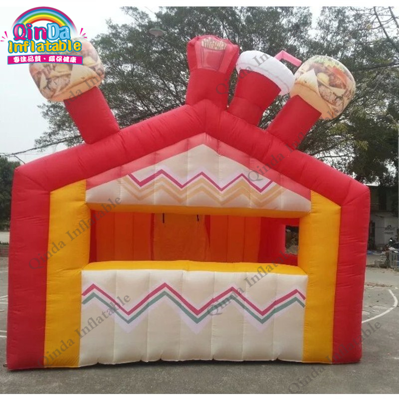 Customized inflatable food booth stand shop,4*4*3m pop up inflatable stall for Chriden'Day decoration