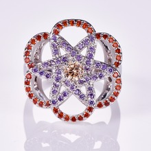 Multi-colour Crystals Hollow Style Flower Ring