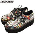 Big Size 35~42 Women Harajuku Style Creeper Platform Shoes British Retro Bohemian Creepers for Woman Women Cloth casual shoes