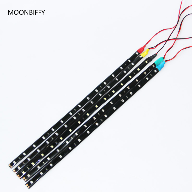 MOONBIFFY 1Pcs Waterproof Car Auto Decorative Flexible LED Strip HighPower 12V 30cm 15SMD Car LED Daytime Running Light 5 colors flexible 3w 132lm 6 smd 5050 led white car decorative daytime running light 12v 2 pcs