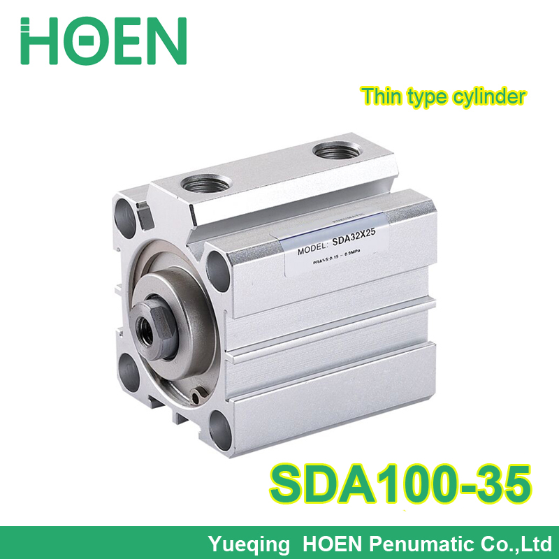 SDA100-35 Airtac type SDA series 100mm Bore 35mm Stroke Pneumatic Compact Air Cylinder SDA100*35 sda50 15 s b airtac air cylinder pneumatic component air tools sda series