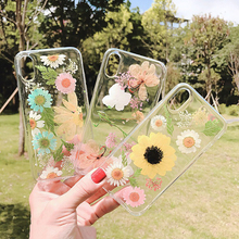FAshion Transparent Real Dried Flowers Phone Case For iphone 7 8 6 6s plus Soft TPU Cover iPhone X XS MAX XR