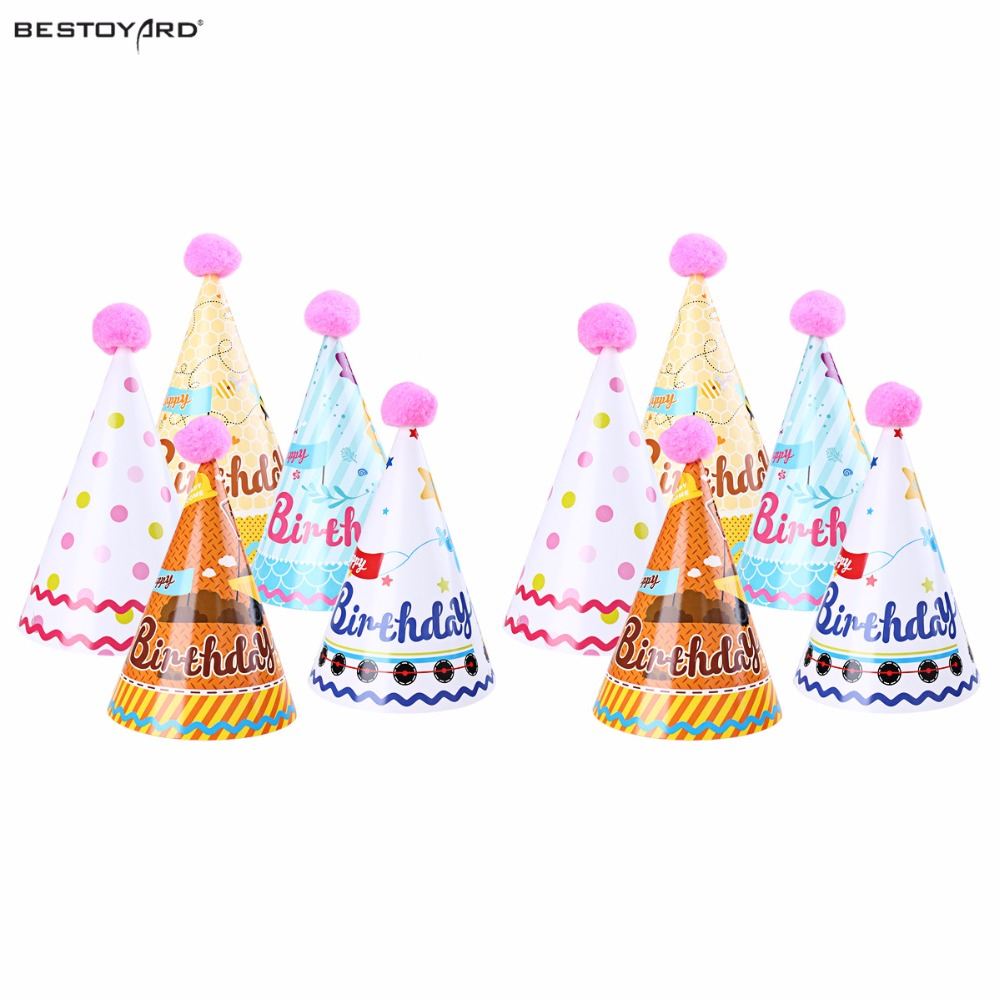 10pcs Birthday Party Cone Hats Birthday Papper Cap With
