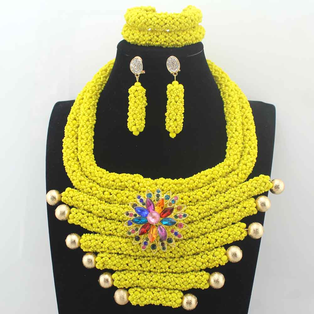 Nigerian Wedding Gifts: African New Yellow Beads Jewelry Set Chunky Crystal Bib
