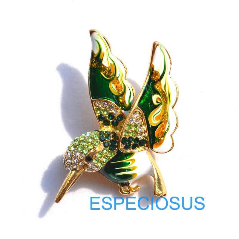 Elegante pino de ouro cor feminina broche strass presentes dos desenhos animados zumbido pássaro pino da mama acessórios jóias quatro cores pintado