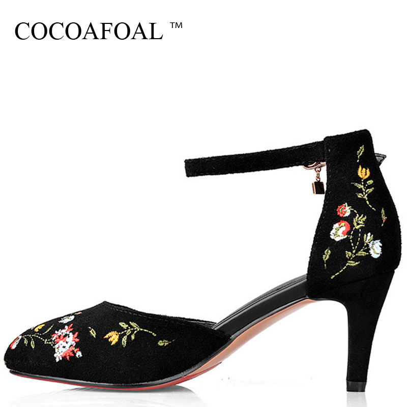 COCOAFOAL Women High Heels Red Wedding Sandal Big Size 42 Genuine Leather Sandals Sexy Party Prom Pointed Toe High Heels Shoes handmade genuine leather sandals women shoes lady high quality 2017 summer red silvery closed toe medium heels big size 10 41 42