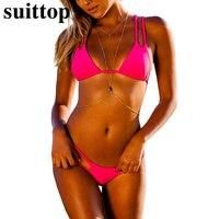 Suittop Brazilian Biquinis 2017 Bikini Sexy Padded Swimsuit Bikini Swimwear Summer Style Low Waist Cut Out