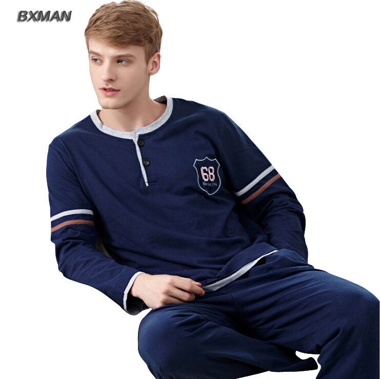BXMAN Brand Men s Pijamas Hombre Simple Casual Pyjamas Men Cotton Solid O  Neck Full Sleeve Men Pajamas Sets Best for Lover 07-in Men s Pajama Sets  from ... 65c9f1294