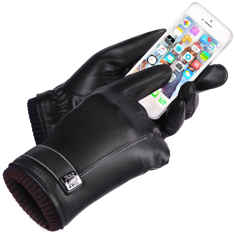 Leather Gloves Men's Winter Gloves Touch Screen Windproof Keep Warm Driving Guantes Male Autumn and Winter Leather Gloves Black