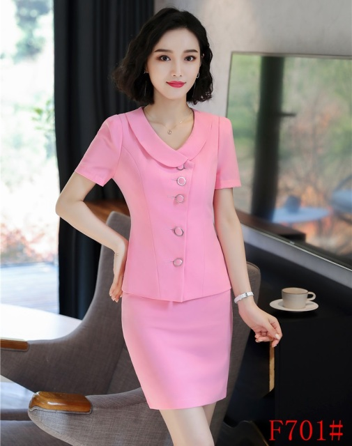 New Style 2018 Summer Women Business Suits Two Piece Pink Skirt And