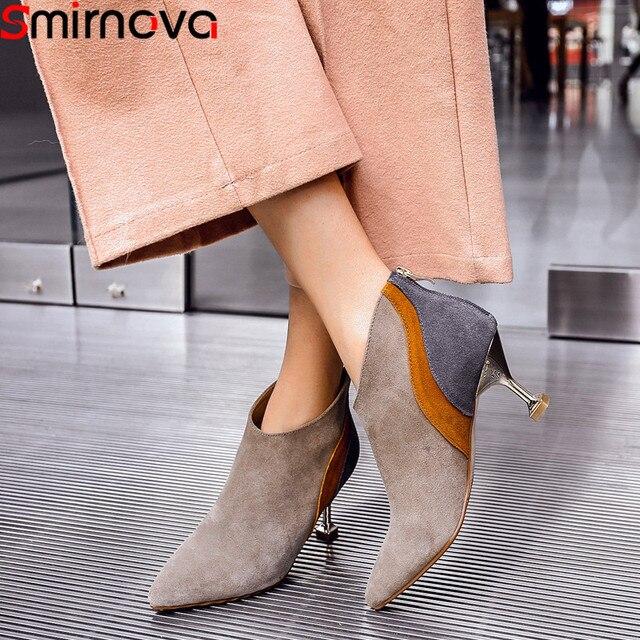 buy popular c3f6d 71729 Smirnova schwarz mode herbst winter schuhe frau wildleder leder high heels  stiefeletten frauen gemischte farben damen stiefel prom