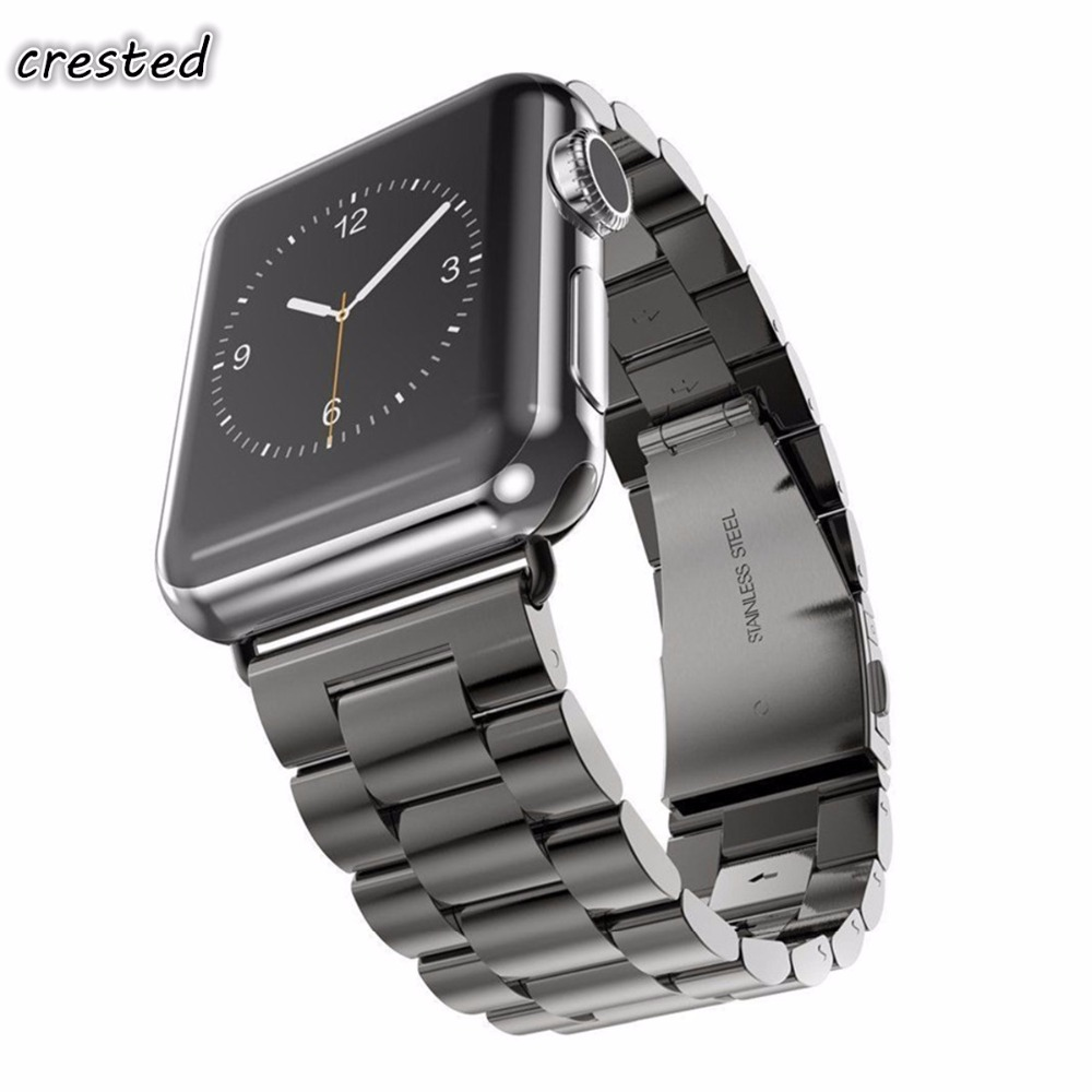 CRESTED Stainless Steel strap For Apple Watch band 42mm/38mm iWatch 3 2 1 straps Link Bracelet wristband replacement watchbandCRESTED Stainless Steel strap For Apple Watch band 42mm/38mm iWatch 3 2 1 straps Link Bracelet wristband replacement watchband