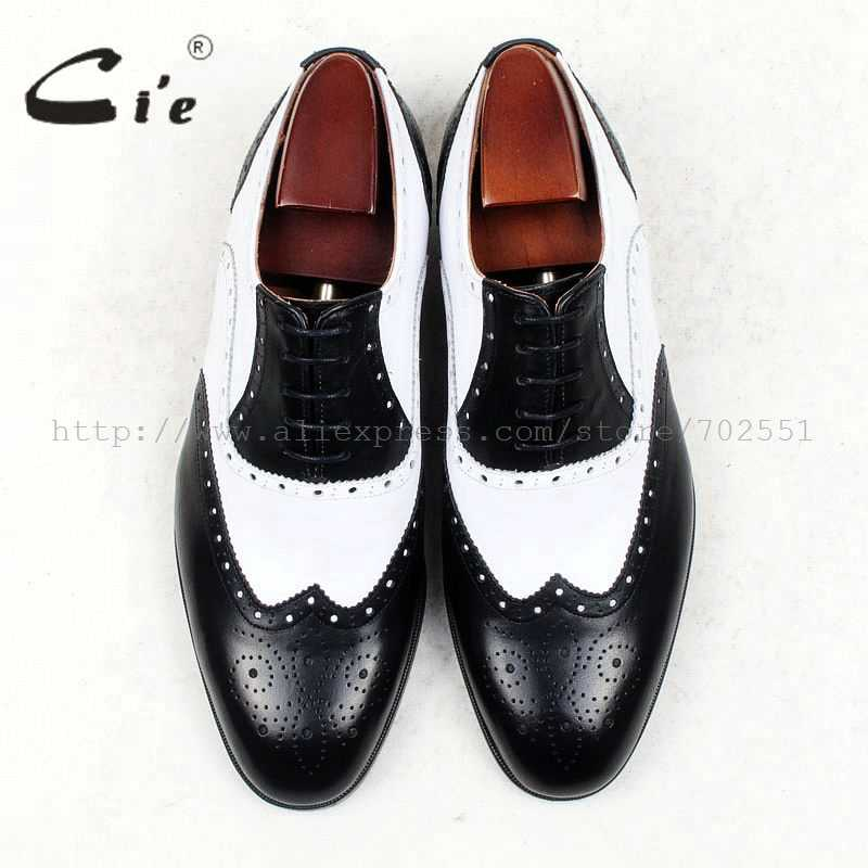 Cie מלא בוהן עגול מדליון לבן שחור נעלי צבעים מעורבים העידו נעלי גברים 100% עור עגל אמיתי נעלי עור שטוח OX439