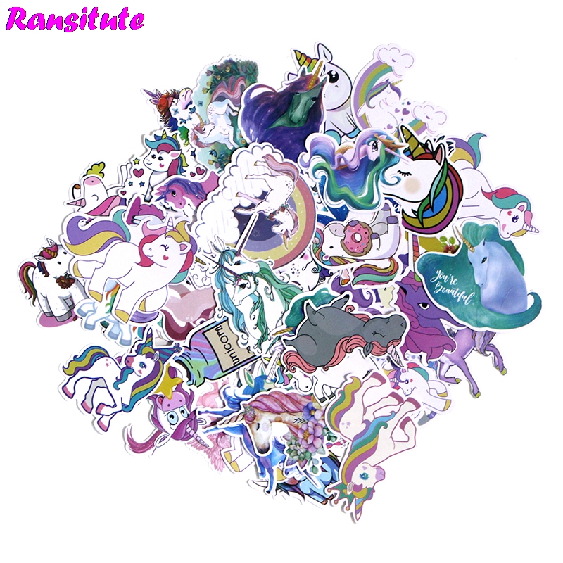 R188 50pcs/set Unicorn Cute Sticker Motorcycle And Suitcase Cool Laptop Sticker Skateboard Sticker