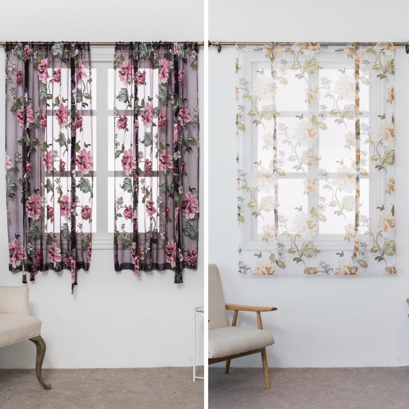 Butterfly Flower Type Roman Short Curtains Use for Living Room Kitchen Burnt-out Flower Tulle Semi-shading Curtains ...