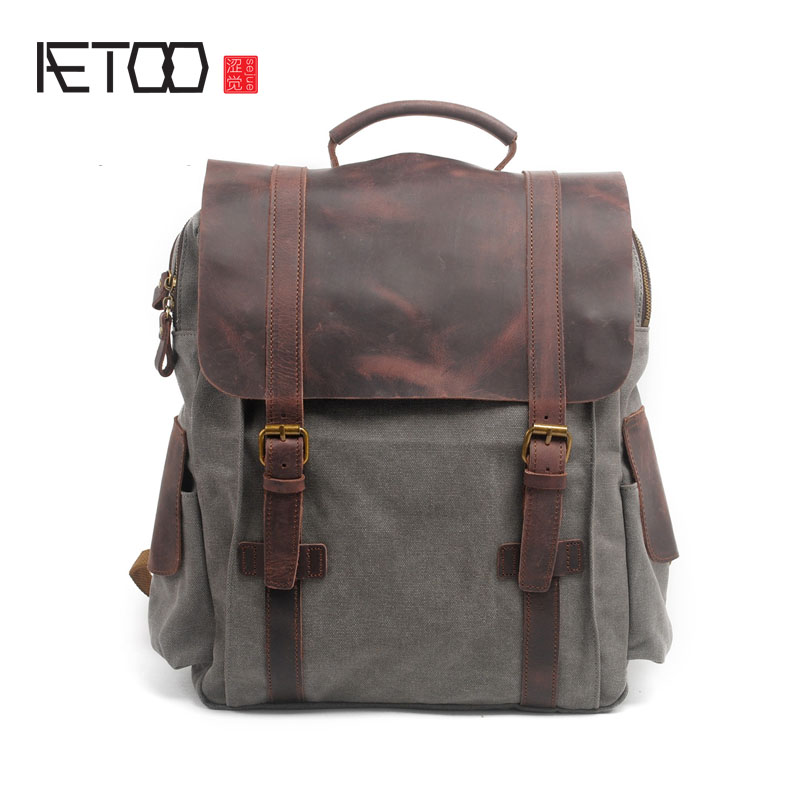 AETOO Shoulder Bag Retro England College Wind Backpack Canvas Bag Men Bag kundui 2016 new europe and america schoolbag england girl shoulder bag leisure backpack retro college wind genuine leather bag