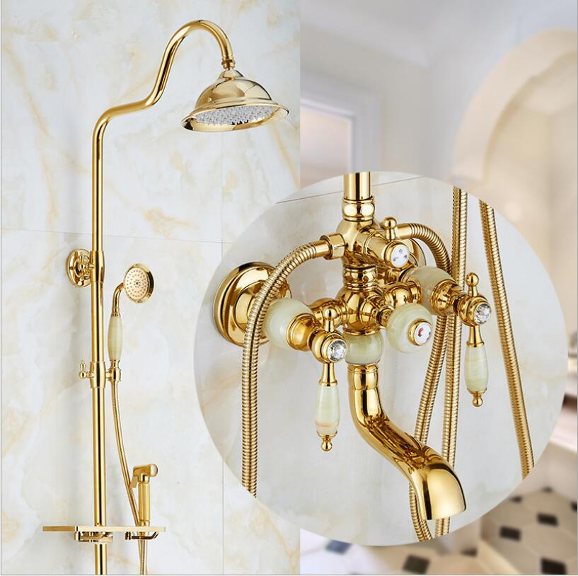 Europe style luxury bath and shower faucet brass and jade gold finished wall mounted shower faucet set with rainfall shower head