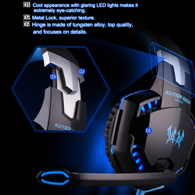 KOTION EACH G2200 USB Headphones Vibration 7.1 Surround Sound And G2000 3.5MM Stereo Gaming Headset Light Headphone For Computer 2