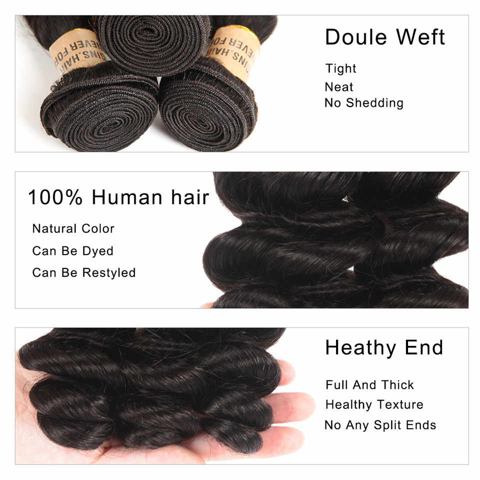 Pelo Wiggins onda suelta 3 paquetes de pelo humano brasileño paquetes de Color Natural 10 12 14 16 18 20 22 24 pelo Remy de 26 pulgadas