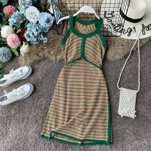 NiceMix 2019 Summer Halter Sleeveless Striped Vestidos Bodycon Sexy Strapless Knitting Sweater Dress Stretch Slim Dresses