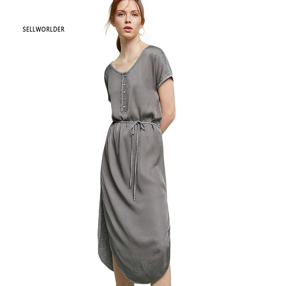 Shop1081756 Store 2017 SELLWORLDER Women Summer simple Gray Brief Dress with Button Decoration
