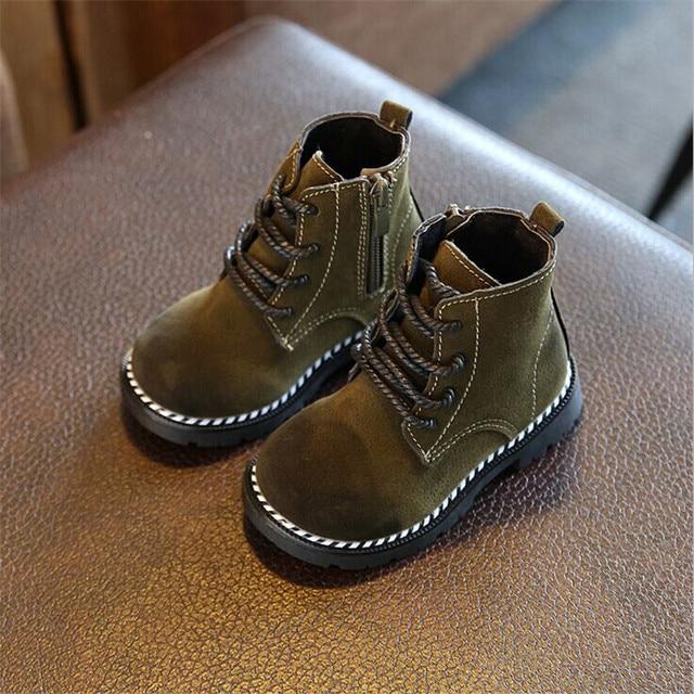 2a8c5f8f0 Весна/осень детские ботинки для девочек для мальчиков кожаные на молнии  резиновые ботильоны martin сапоги