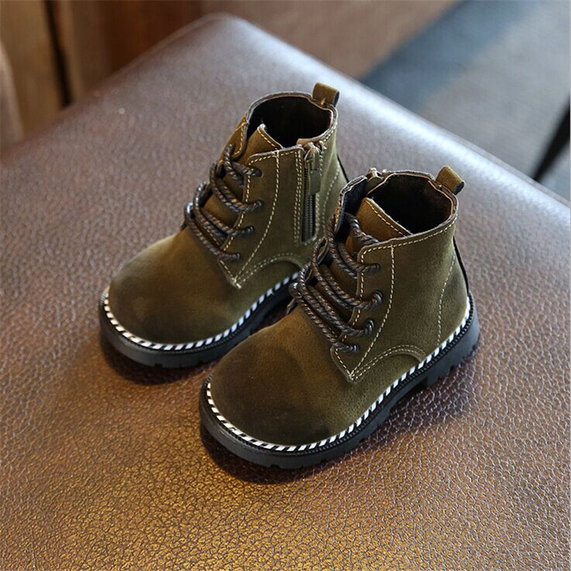 boots for girls autumn winter - Spring/Autumn Children Boots Girls Boys Leather Zip Rubber Ankle Martin Boots Fashion Baby Boy Girl shoes For Kids Boots 21-30