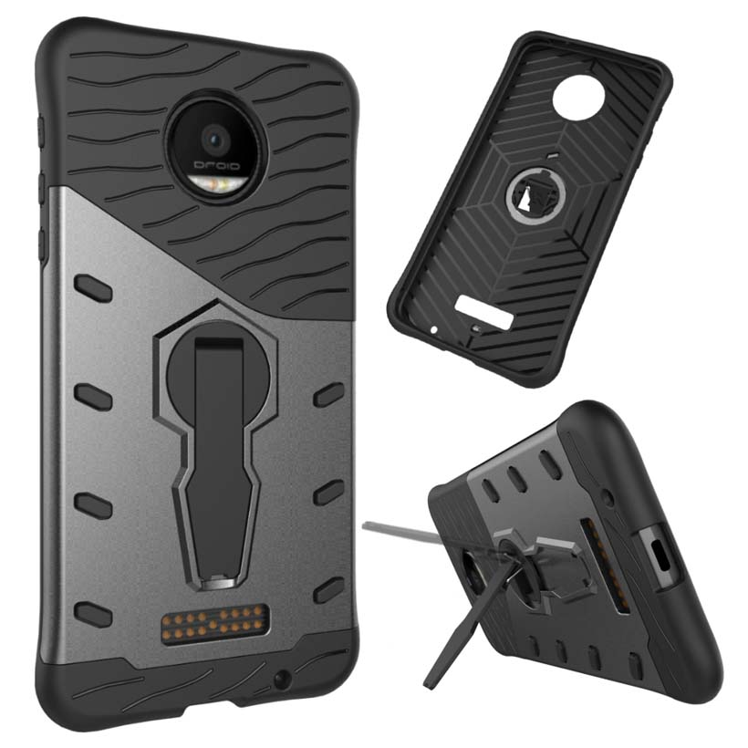 HEMASOLY Case For Moto Z Droid Case Armor For Moto Z Play PC+TPU Case Moto Z Force Heavy Duty Protection Kickstand Cover